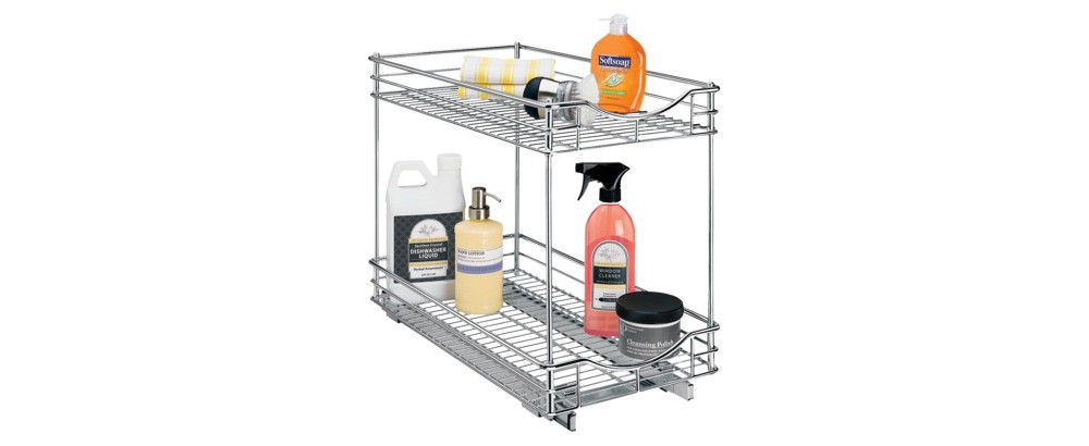 "Lynk Professional Pull Out Double Drawer - 2 Tier Sliding Cabinet Organizer 11""""w x 18""""d, Chrm"