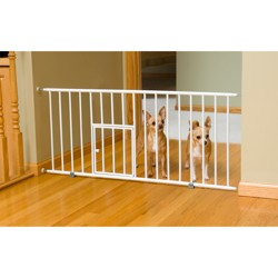 """Carlson Dog Products Mini Gate with Dog Door - 18"""" H - White"""