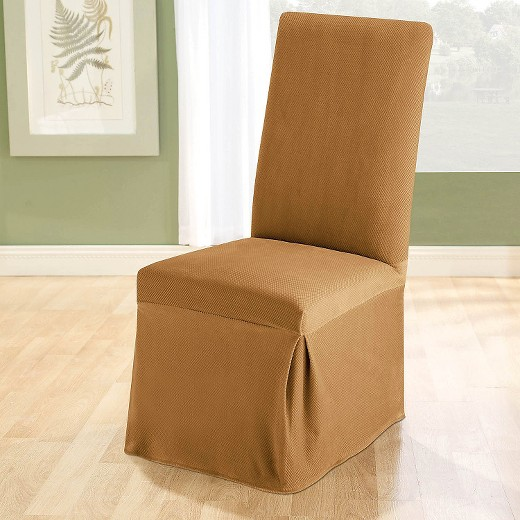 Stretch Pique Long Dining Room Chair Slipcover