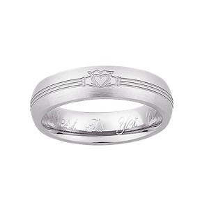 Personalized Sterling Silver Ladies Engraved Claddagh Wedding Band- 8, Women