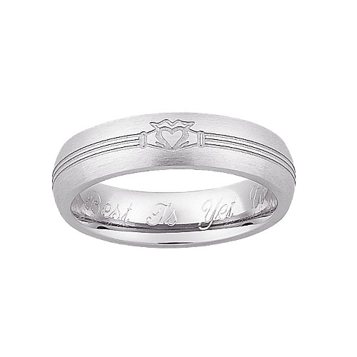 Personalized Sterling Silver Ladies Engraved Claddagh Wedding Band- 8, Women's, Size: 8.0