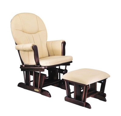 Shermag Danielle Deluxe Sleigh-Style Glider Rocker and Ottoman Set - Espresso Finish with Beige Cotton Twill