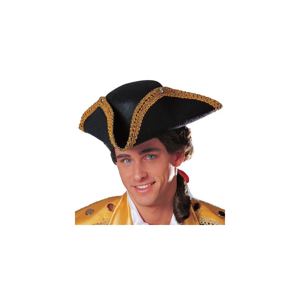Mens Deluxe Colonial Tricorn Hat, Black