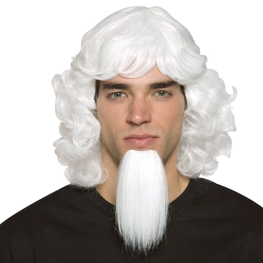 Mens Uncle Sam Wig with Goatee Costume Accessory White