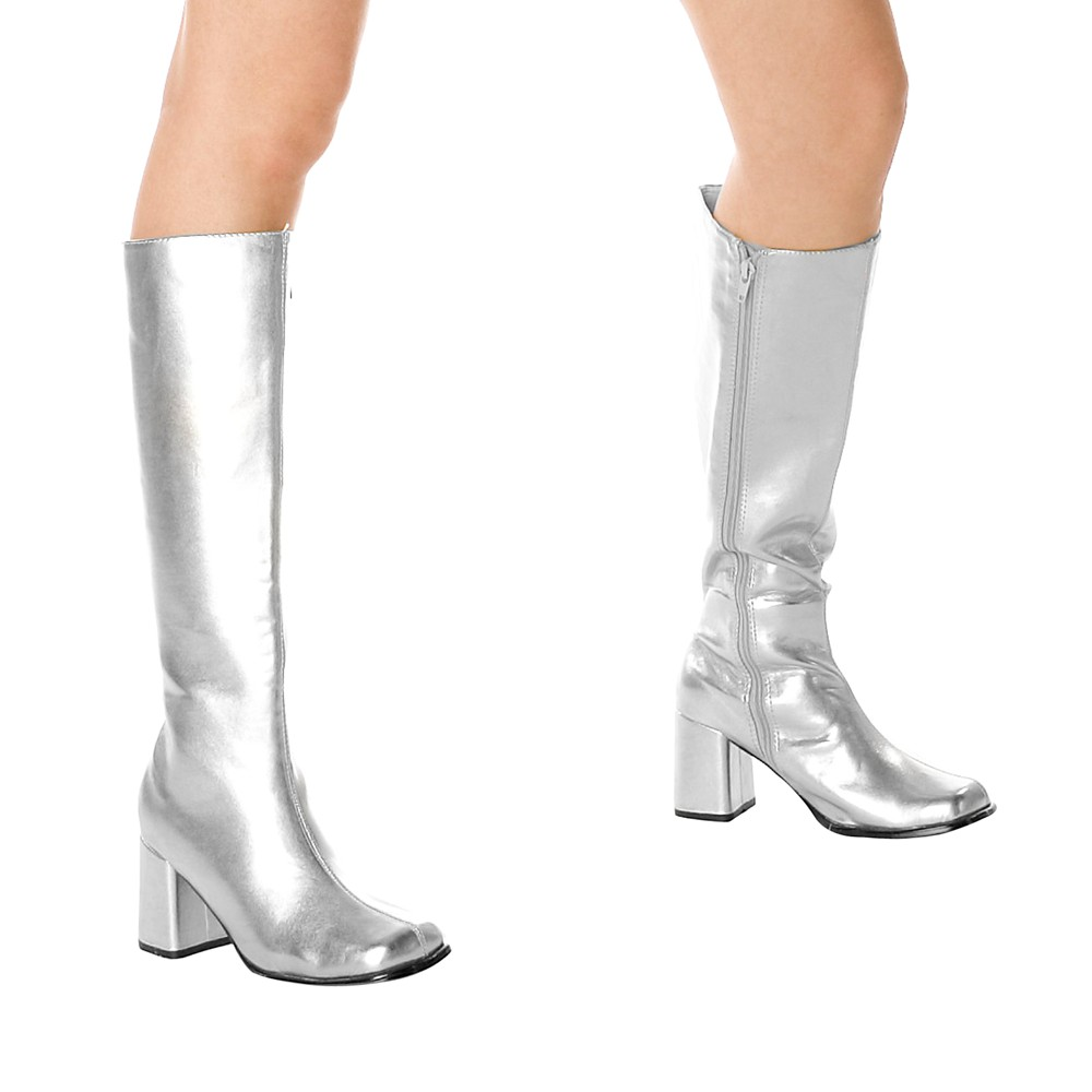 Adult Gogo Boots Silver Size 10, Womens, Size: 10.0, Variation Parent