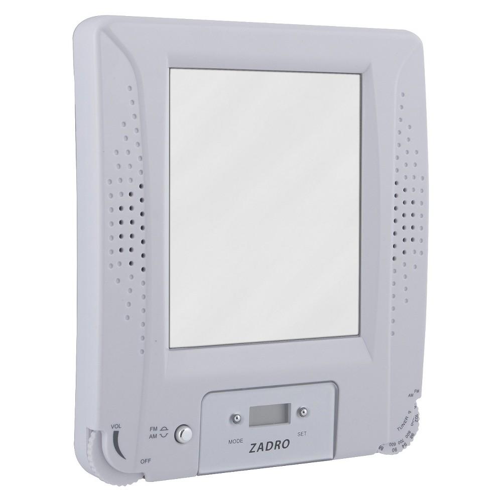 Zadro Fogless Water Resistant Radio Mirror Combo, White