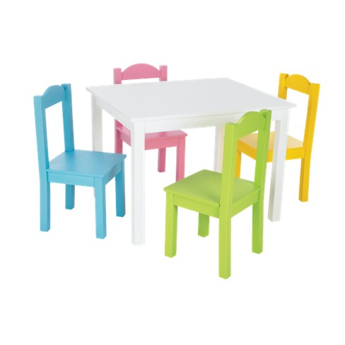 Tot Tutors White Table & 4 Pastel Chairs : Target