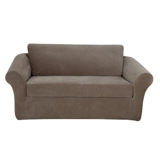 Taupe Stretch Pique Slipcover Loveseat Sure Fit Target