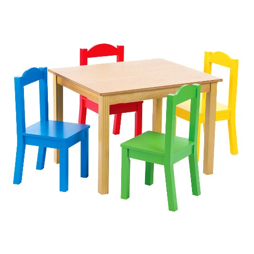tot tutors wood table and 4 chairs in primary colors - Tot Tutors Book Rack Primary Colors