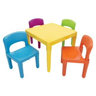 5pc Plastic Table and Chairs Vibrant - Humble Crew