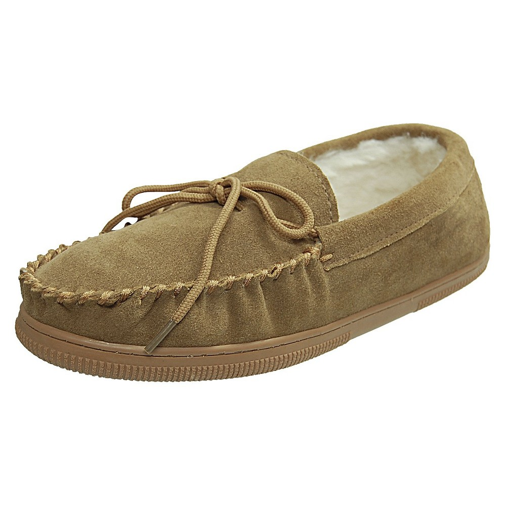 Mens Bosto Faux Suede Slippers - Hickory 12, Tan