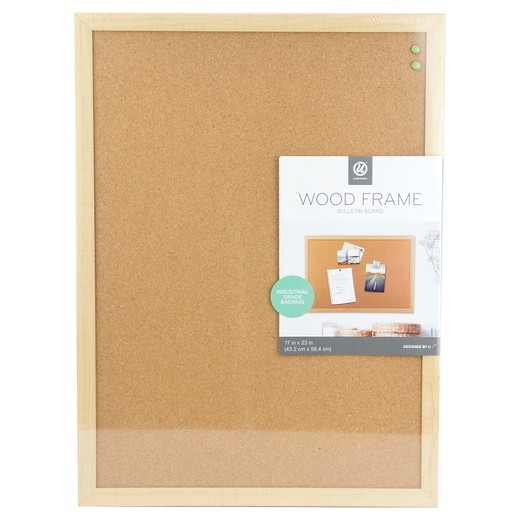 ubrands cork bulletin board wood frame 17x23 brown