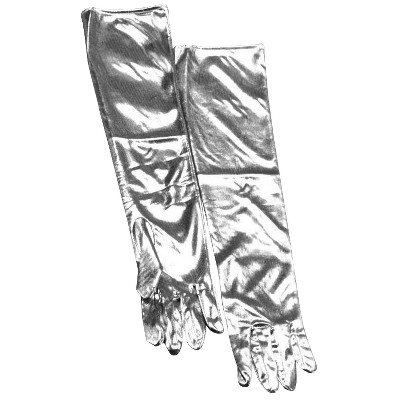Women's Lamé Gloves Silver