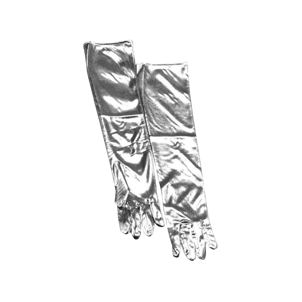 Womens Lamé Gloves Silver