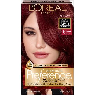 LOreal® Paris Superior Preference Fade-Defying Color + Shine System - RR04 Intense Dark Red - 1 kit