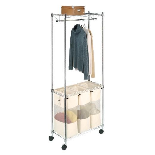 Whitmor Supreme Laundry Sorter With Garment Rack Chrome Target