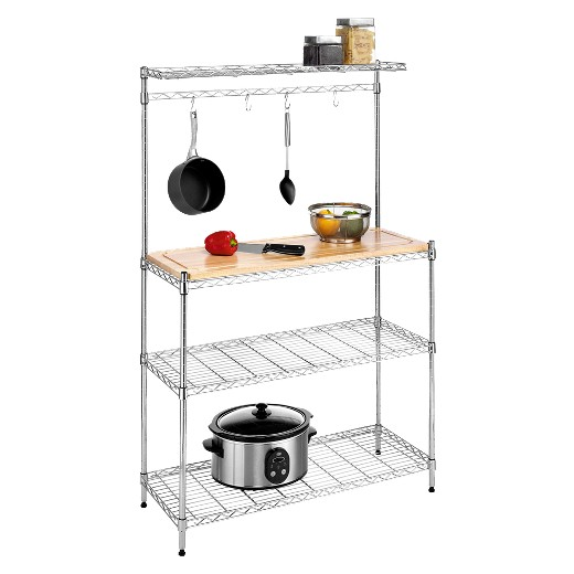 Kitchen Shelving Unit with Cutting Board and Baker's Rack - Kitchen Shelving Unit With Cutting Board And Baker's Rack : Target