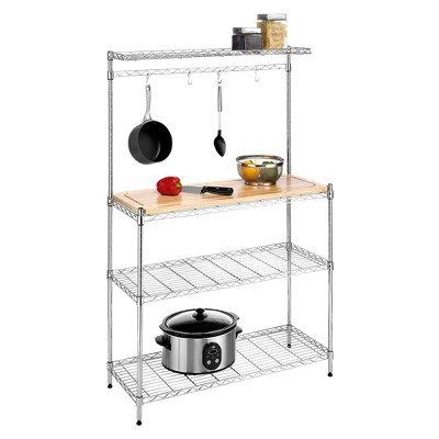 Kitchen Shelving Unit With Cutting Board And Bakeru0027s Rack