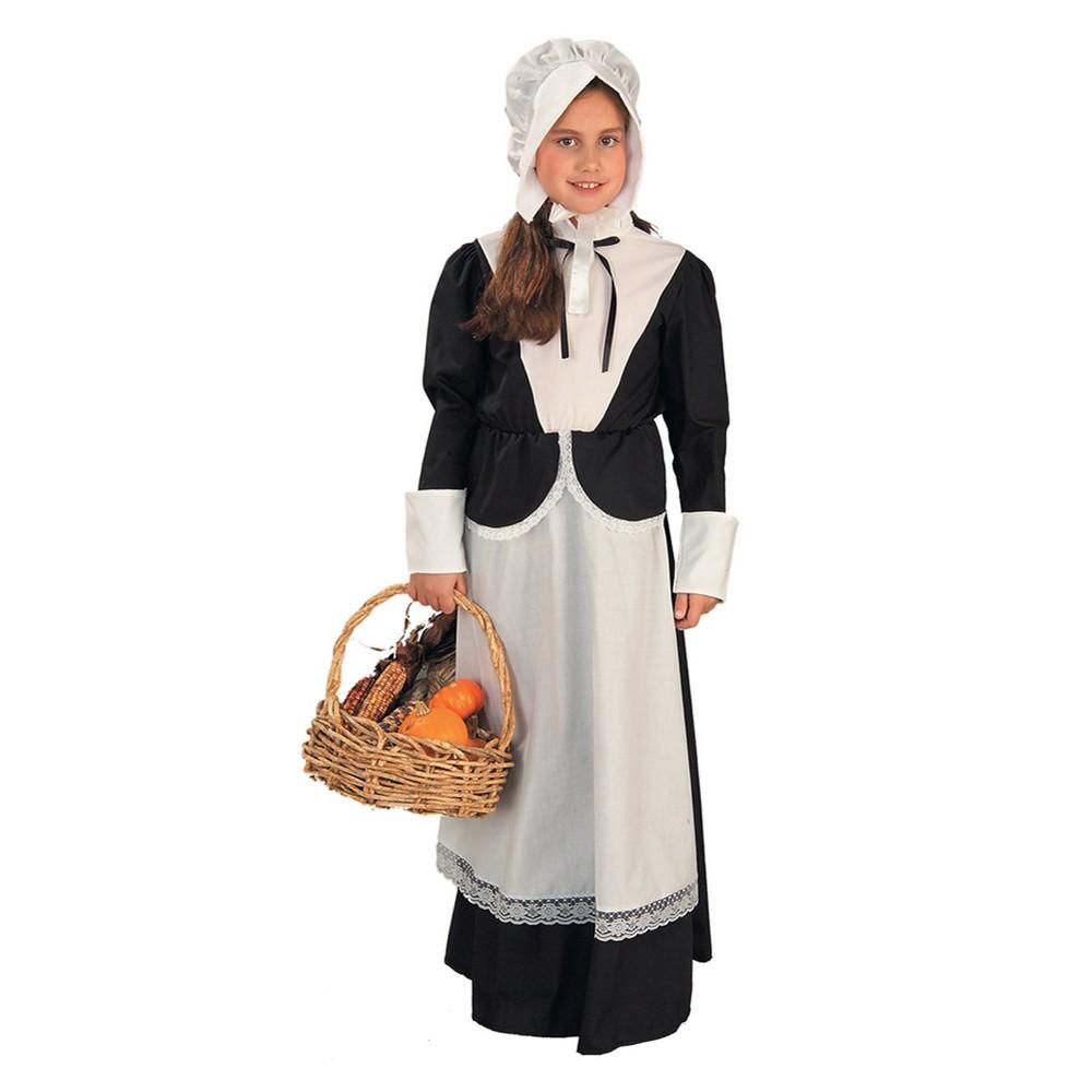 Girls' Pilgrim Costume Medium (7-8), Size: M(7-8), Variation Parent