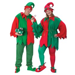 Adult Elf Tunic, Hat and Shoe Set Costume One Size Fits Most