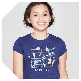 Girls' Short Sleeve Stay Curious Printed Graphic T-Shirt - Cat & Jack™ Navy