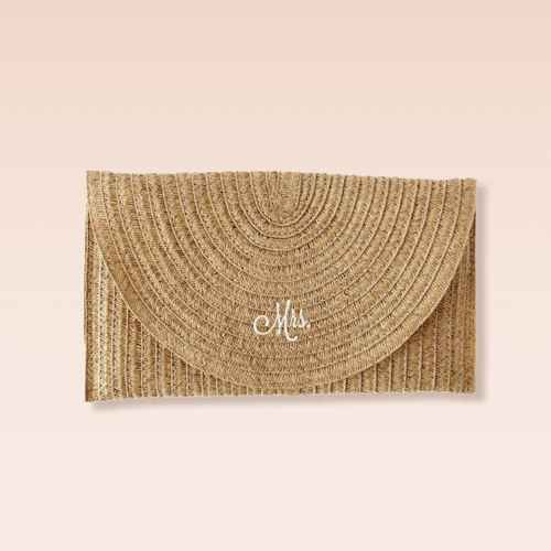 """Mrs"" Straw Envelope Clutch Brown"