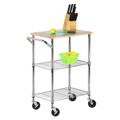 Superb 2 Shelf Rolling Kitchen Cart With Cutting Board Top