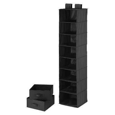 8 Shelf Organize/2 Drawers Black