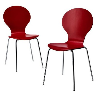 Porter Modern Stacking Chair - Red (Set of 2)
