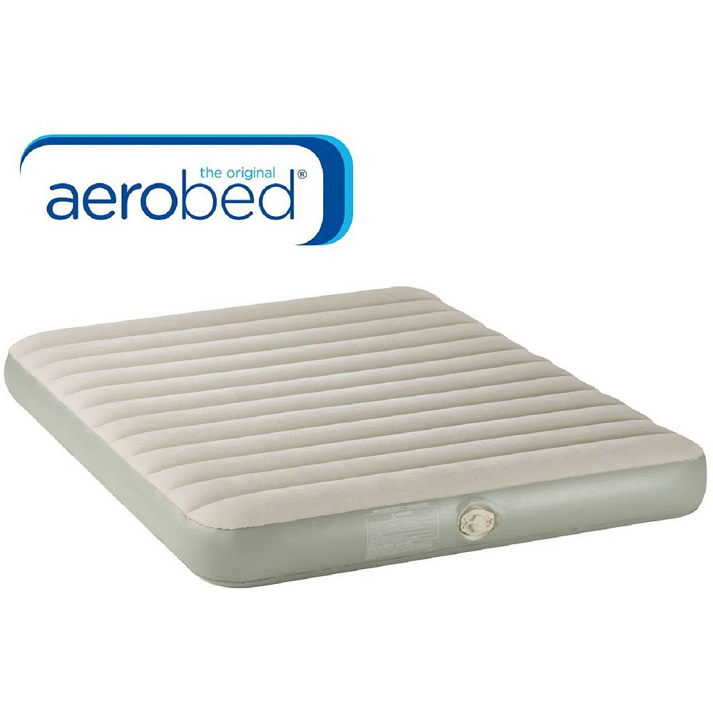 AeroBed Air Mattress - Single High Queen Find Sleeping Pads, Airbeds and Cots at Target.com! Always be ready for guests with this queen-size plush airbed. It includes an electric pump for quick inflation. In the morning, the airbed will deflate in less than a minute and fit into its own storage bag. Important: It is normal for air beds to stretch and decrease in air pressure during the first several uses (your air bed is not leaking). Simply add air to your desired firmness and the air pressure will stabilize over time. Open airbeds cannot be returned, but may be exchanged for a similar item. Size: Queen. Color: Blue/White. Gender: Unisex.