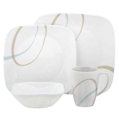 Corelle® Square™ 16pc Dinnerware Set Sand and Sky