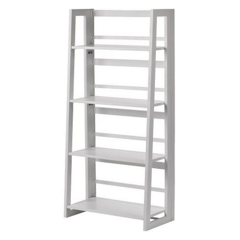 Dolce 4 Shelf Folding Bookcase White Linon