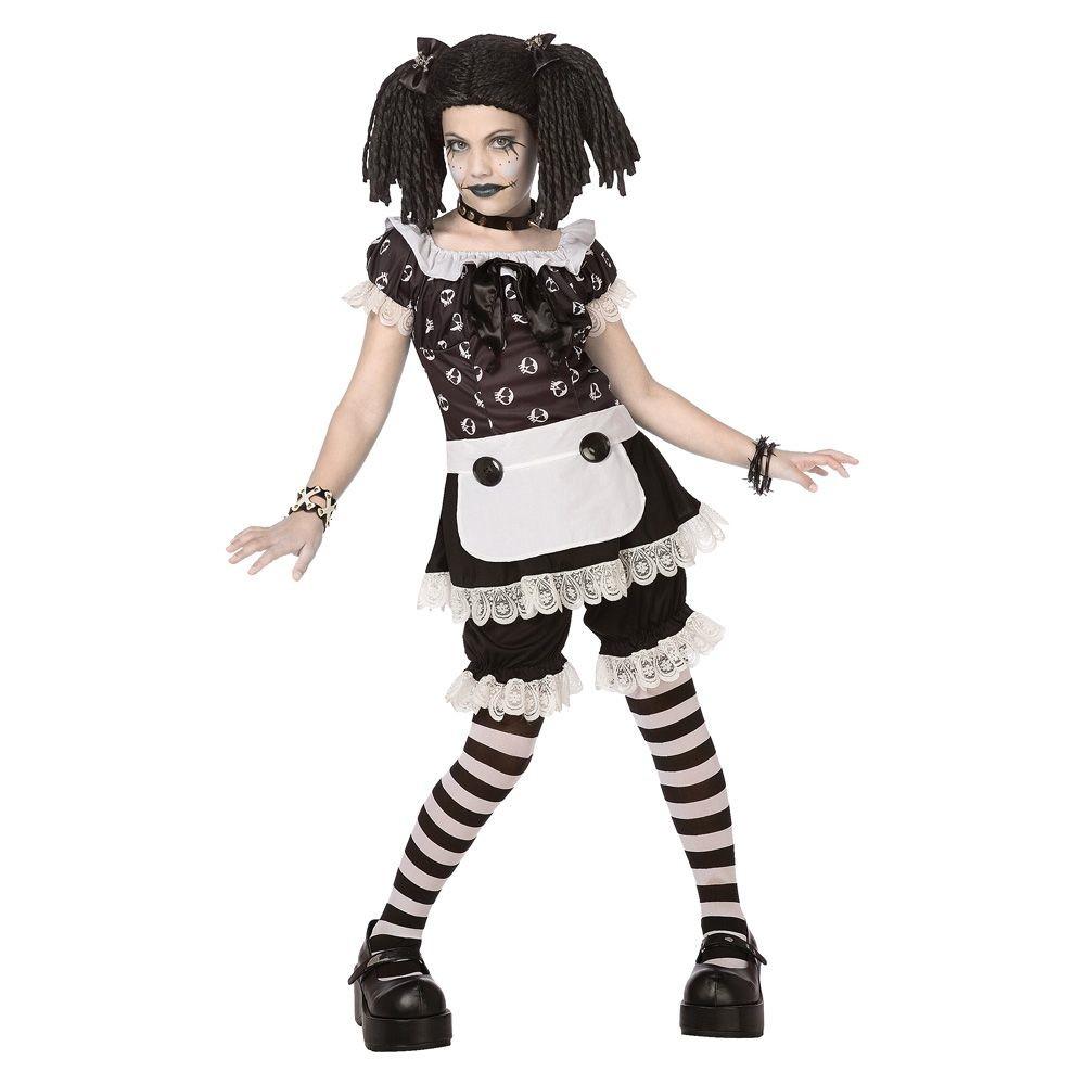 Girls Gothic Rag Doll Costume Medium (7-8), Size: M(7-8), Variation Parent