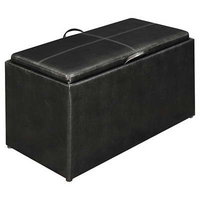 Sheridan Storage Bench with 2 Side Ottomans - Black - Convenience Concepts