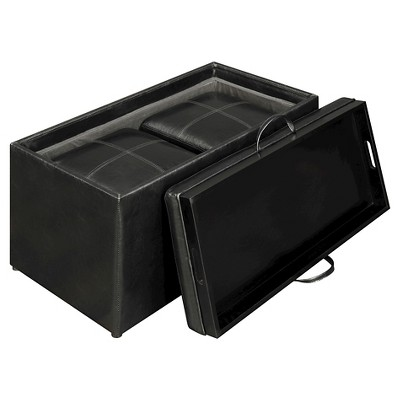 sheridan storage bench with 2 side ottomans black convenience concepts