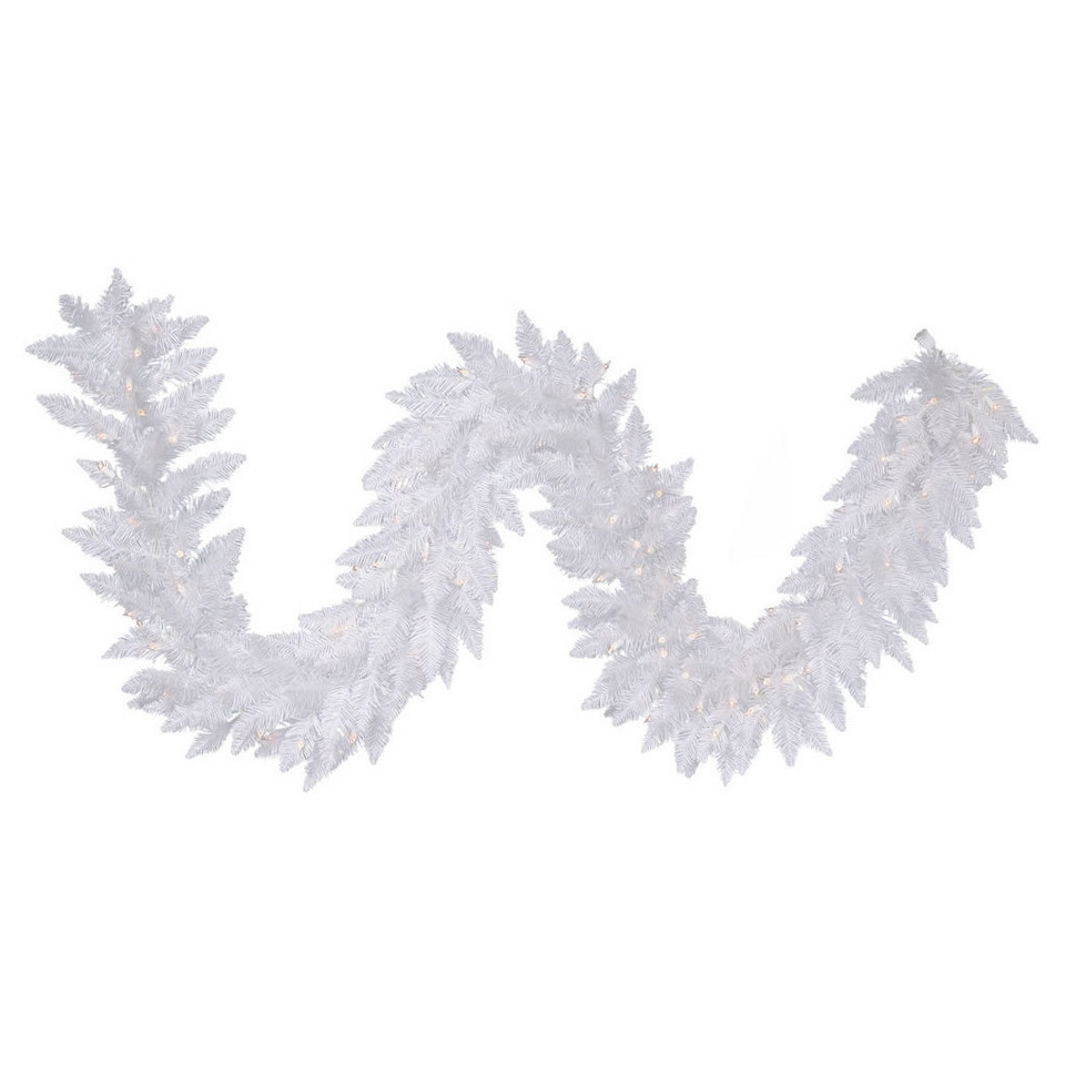 Pre Lit White Spruce Garland   Clear Lights (9)