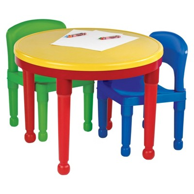 Tot Tutors Round Plastic Construction Table 2 Chairs U0026 Cover
