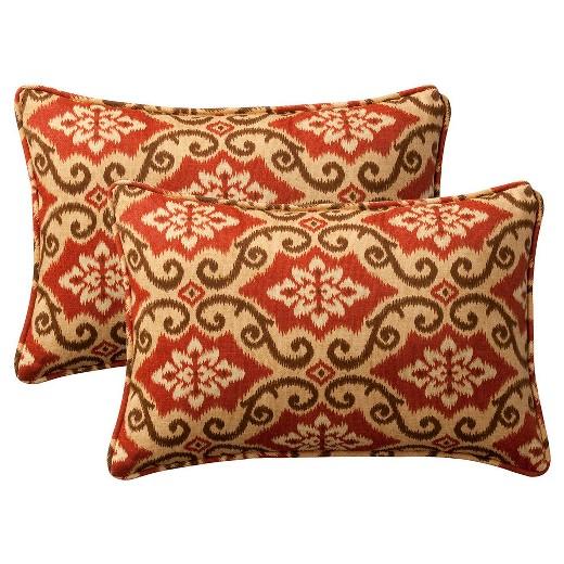 2-Piece Outdoor Toss Pillow Set - Southwestern Tan/Orange Geometric 18