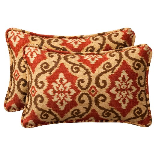 2-Piece Outdoor Toss Pillow Set - Southwestern Tan/Orange Geometric 24