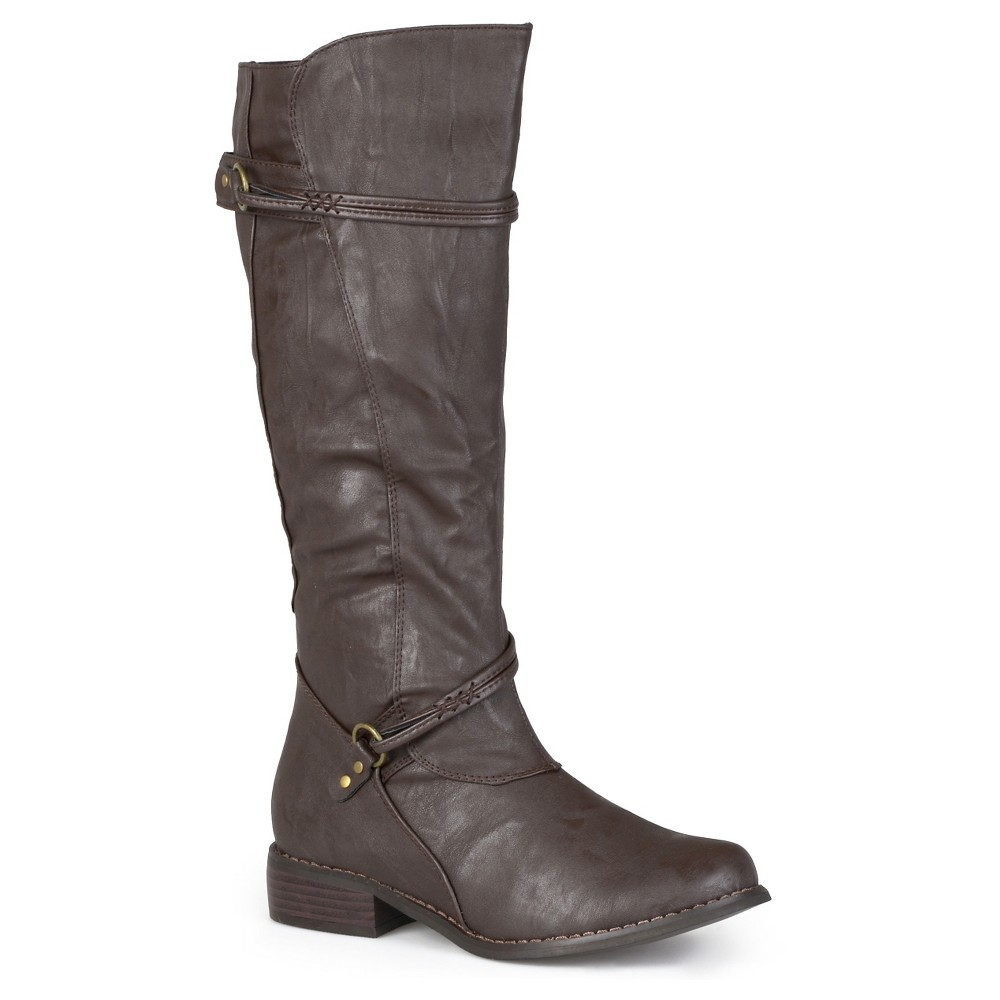 Womens Journee Collection Buckle Accent Tall Boots - Brown 10