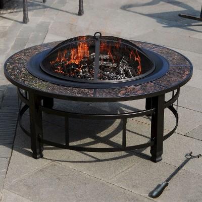 leisurelife granite fire pit round u2013 34u201d - Round Fire Pit