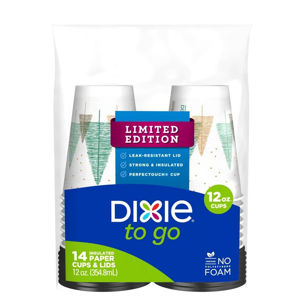 Dixie Cups & Lids - 12oz 14ct, Multi-Colored