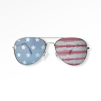 Women's Americana Striped Aviator Silver Stars and Tie Dye Stripes Sunglasses - Wild Fable™
