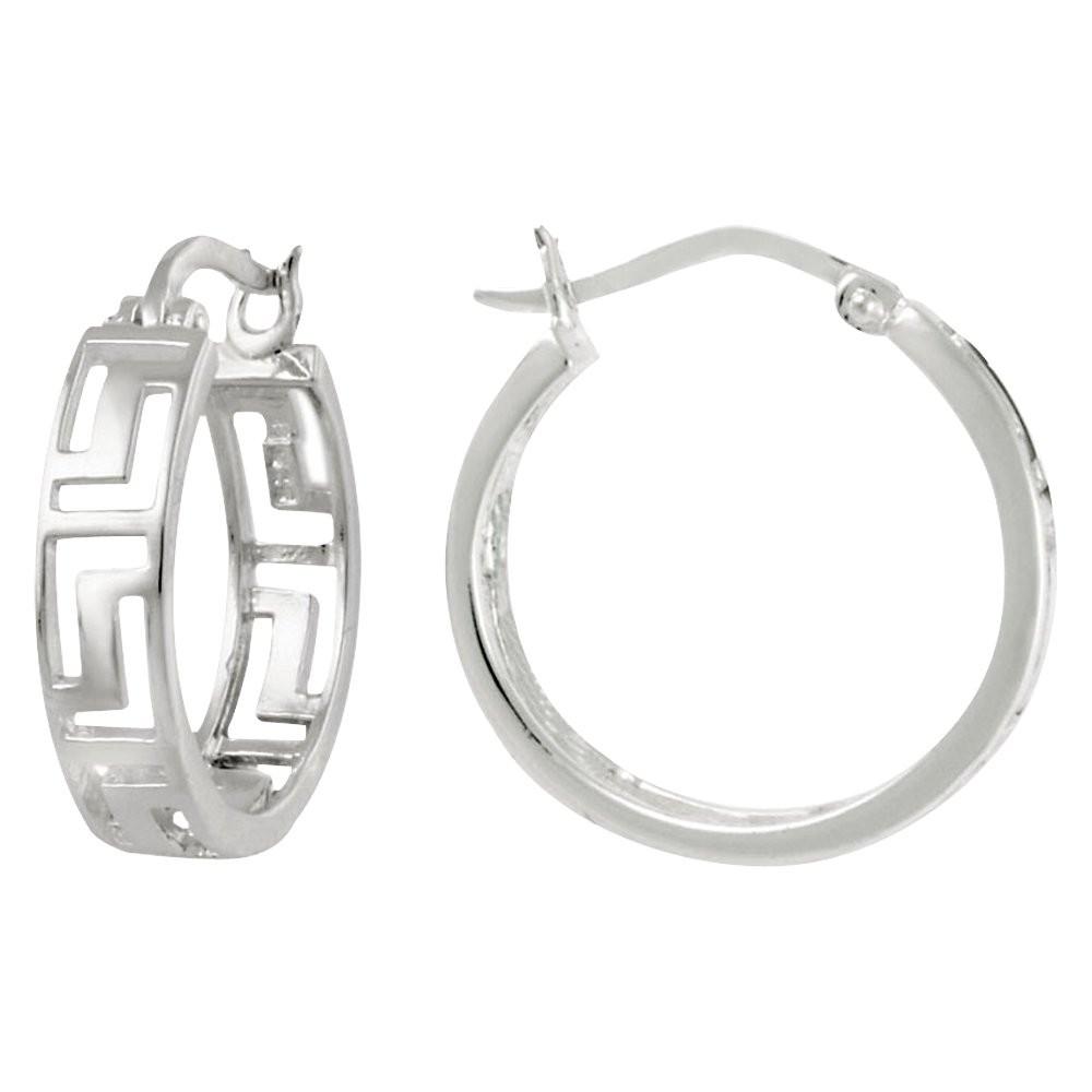 Greek Key Hoop Earrings - Silver, Women's