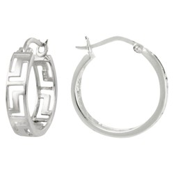 Greek Key Hoop Earrings - Silver