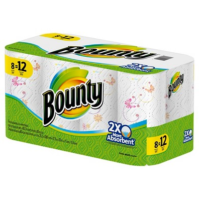 Bounty Printed Paper Towels - 8 Giant Rolls