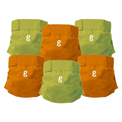 gDiapers Everyday g's Great Orange and Guppy Green - Medium (6 ct)