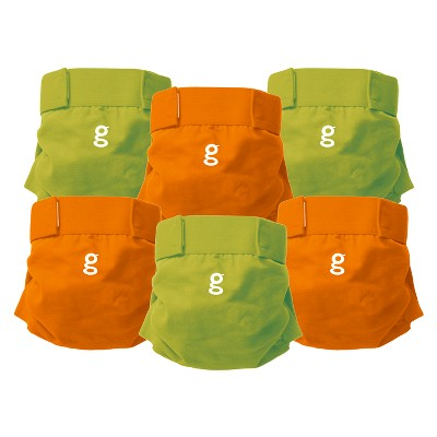 gDiapers Everyday g's Great Orange and Guppy Green - Large (6 ct)