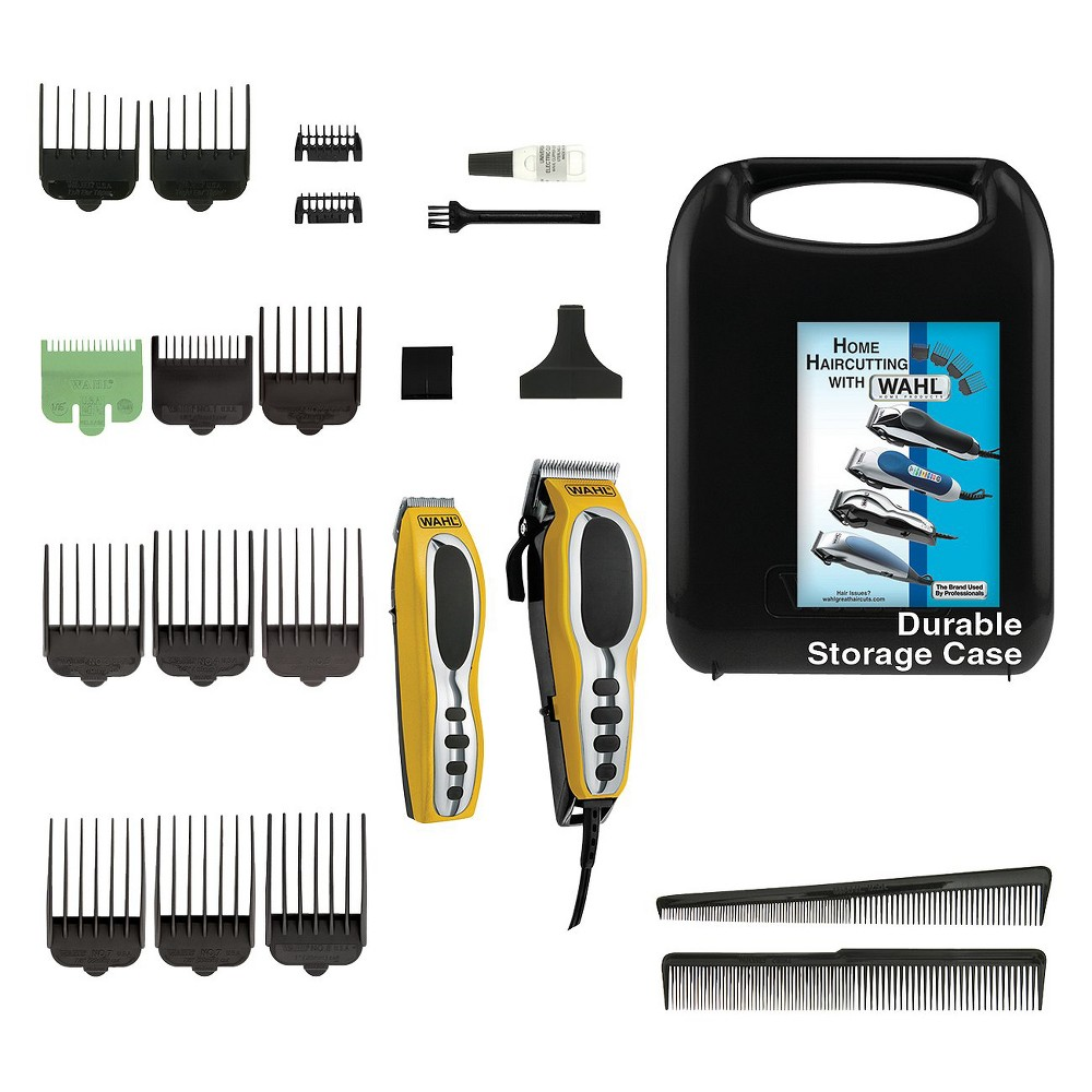 Wahl Groom Pro Complete Men's Head & Total Body Grooming Kit with Hair clipper and trimmer - 79520-3101, Yellow/Black