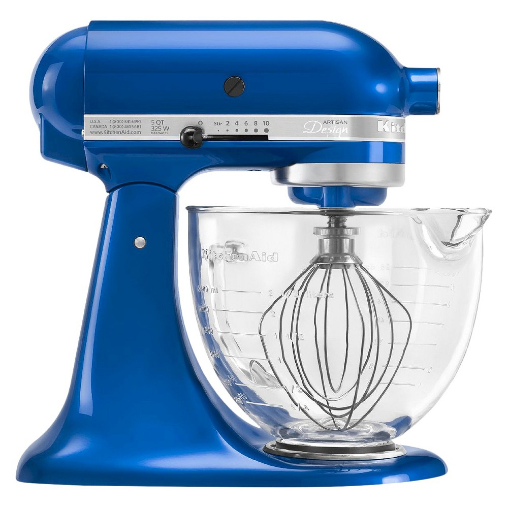 KitchenAid Artisan Design Series 5 Quart Tilt-Head Stand Mixer with Glass Bowl - KSM155GB, Electric Blue Find Kitchen Mix, Blend, Chop and Slice Appliances at Target.com! The KitchenAid Artisan Designer Series stand mixer performs various functions, from whipping to blending. This stand mixer has 10 speed settings, which can be adjusted as per the requirement. It has a 5-quart glass bowl, in which your food is processed to perfection. The included accessories like dough hooks, whisk and flat beaters enhance the functionality. The KitchenAid 325-watt stand mixer has a tilt-back head that lets you access the mixture easily. This mixer has a non-slip base that provides maximum grip during its operation. Some of its parts are dishwasher safe, so maintenance will be a snap. Color: Electric Blue.